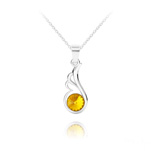 Wholesale Angel Wing Silver Necklace with Swarovski Crystal - Sun Flower