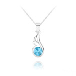 Wholesale Angel Wing Silver Necklace with Swarovski Crystal - Aquamarine