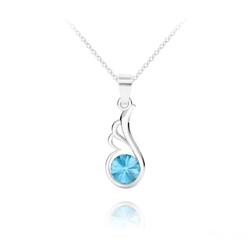 Collier Aile d'Ange en Argent et Cristal Bleu Aigue-marine