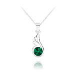 Wholesale Angel Wing Silver Necklace with Swarovski Crystal - Emerald