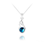Wholesale Angel Wing Silver Necklace with Swarovski Crystal - Bermuda Blue