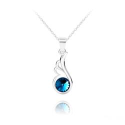 Collier Aile d'Ange en Argent et Cristal Bleu Bermude