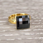 Wholesale Chessboard 24K Gold Plated Silver Ring with Swarovski Crystal - Jet