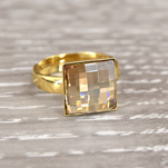 Wholesale Chessboard 24K Gold Plated Silver Ring with Swarovski Crystal - Golden Shadow