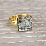 Wholesale Chessboard 24K Gold Plated Silver Ring with Swarovski Crystal - Rose Patina