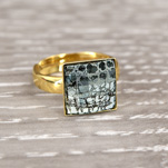 Wholesale Chessboard 24K Gold Plated Silver Ring with Swarovski Crystal - Black Patina
