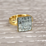 Wholesale Chessboard 24K Gold Plated Silver Ring with Swarovski Crystal - Silver Patina