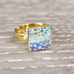 Wholesale Chessboard 24K Gold Plated Silver Ring with Swarovski Crystal - White Patina