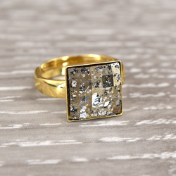 Wholesale Chessboard 24K Gold Plated Silver Ring with Swarovski Crystal