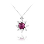 Wholesale Sun Silver Necklace with Swarovski Crystal - Amethyst