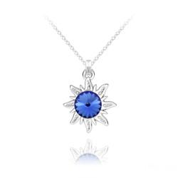 Collier Soleil en Argent et Cristal Rivoli Bleu Saphir