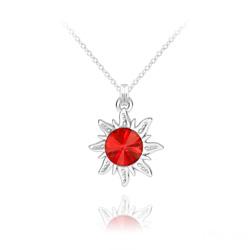 Collier Soleil en Argent et Cristal Rivoli Rouge Light Siam