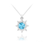 Wholesale Sun Silver Necklace with Swarovski Crystal - Aquamarine