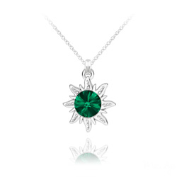 Collier Soleil en Argent et Cristal Rivoli Vert Émeraude