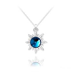 Collier Soleil en Argent et Cristal Rivoli Bleu Bermude