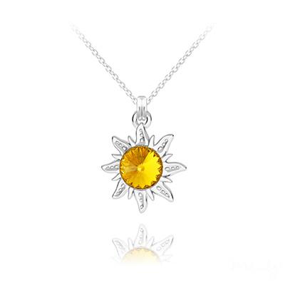 Collier en Cristal et Argent Collier Soleil en Argent et Cristal Rivoli Sun Flower