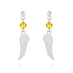 Wholesale Angel Wing Crystal and Silver Earrings - Sun Flower