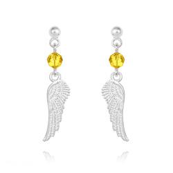 Boucles d'Oreilles en Cristal et Argent Boucles d'Oreilles Aile d'Ange en Argent et Cristal Sun Flower