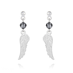 Boucles d'Oreilles en Cristal et Argent Boucles d'Oreilles Aile d'Ange en Argent et Cristal Silver Night