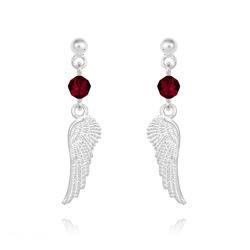 Boucles d'Oreilles Aile d'Ange en Argent et Cristal Rouge Siam