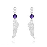 Wholesale Angel Wing Crystal and Silver Earrings - Purple Velvet