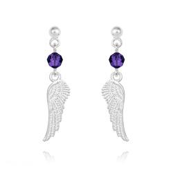 Boucles d'Oreilles Aile d'Ange en Argent et Cristal Purple Velvet
