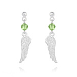 Wholesale Angel Wing Crystal and Silver Earrings - Peridot