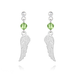 Boucles d'Oreilles Aile d'Ange en Argent et Cristal Vert Péridot