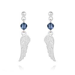 Boucles d'Oreilles Aile d'Ange en Argent et Cristal Bleu Montana
