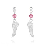Wholesale Angel Wing Crystal and Silver Earrings - Light Rose
