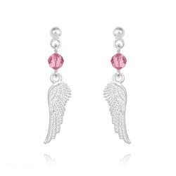 Boucles d'Oreilles Aile d'Ange en Argent et Cristal Light Rose