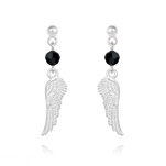 Wholesale Angel Wing Crystal and Silver Earrings - Jet