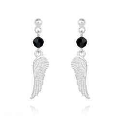 Boucles d'Oreilles Aile d'Ange en Argent et Cristal Jet (Noir)
