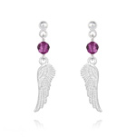 Wholesale Angel Wing Crystal and Silver Earrings - Fuchsia