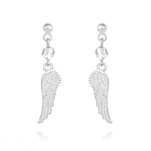 Wholesale Angel Wing Crystal and Silver Earrings - White AB