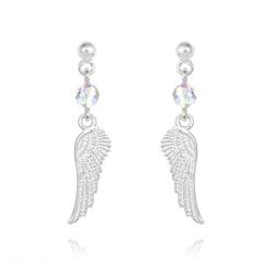 Boucles d'Oreilles Aile d'Ange en Argent et Cristal Aurore Boréale