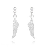 Wholesale Angel Wing Crystal and Silver Earrings - White