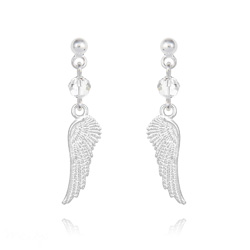 Boucles d'Oreilles Aile d'Ange en Argent et Cristal Blanc
