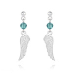 Wholesale Angel Wing Crystal and Silver Earrings - Blue Zircon