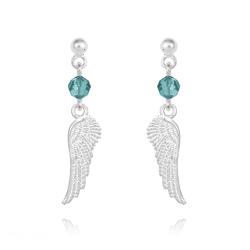 Boucles d'Oreilles Aile d'Ange en Argent et Cristal Bleu Zircon