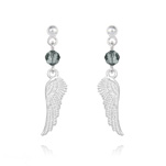 Wholesale Angel Wing Crystal and Silver Earrings - Black Diamond