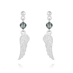 Boucles d'Oreilles Aile d'Ange en Argent et Cristal Black Diamond