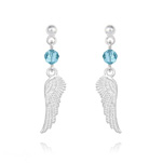 Wholesale Angel Wing Crystal and Silver Earrings - Aquamarine
