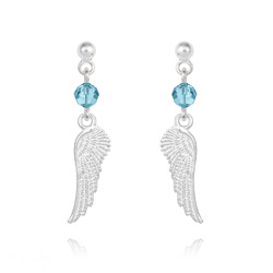 Boucles d'Oreilles Aile d'Ange en Argent et Cristal Bleu Aigue-marine