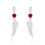 Wholesale Angel Wing Crystal and Silver Earrings - Light Siam