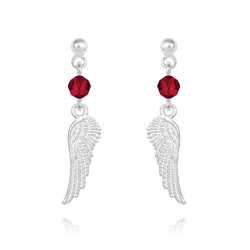 Boucles d'Oreilles Aile d'Ange en Argent et Cristal Rouge Light Siam