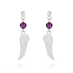 Wholesale Angel Wing Crystal and Silver Earrings - Amethyst