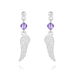 Wholesale Angel Wing Crystal and Silver Earrings - Tanzanite