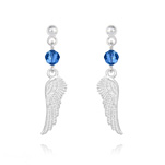 Wholesale Angel Wing Crystal and Silver Earrings - Capri Blue