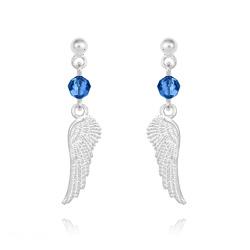 Boucles d'Oreilles Aile d'Ange en Argent et Cristal Capri Blue
